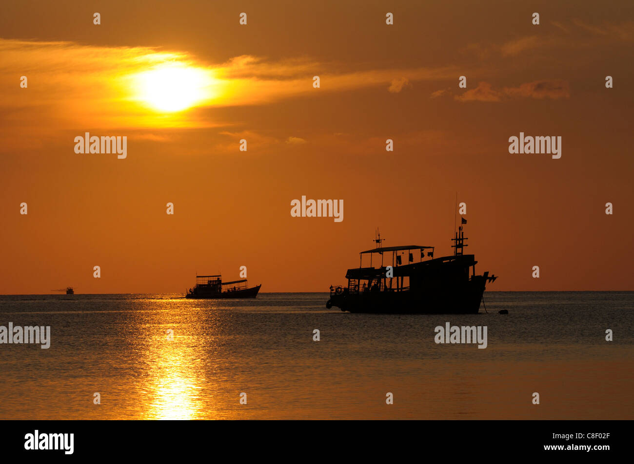 Boats, sunset, Sai Ree, Beach, Koh Tao, Thailand, Asia, Stock Photo