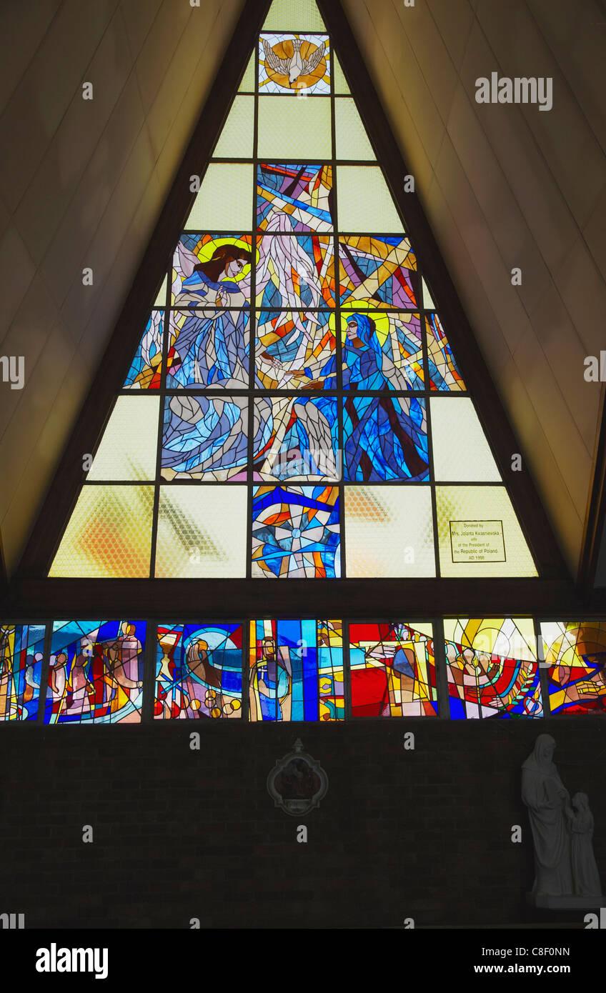 Stained glass window, Regina Mundi Catholic Church, scene of Soweto uprising, Soweto, Johannesburg, Gauteng, South Stock Photo