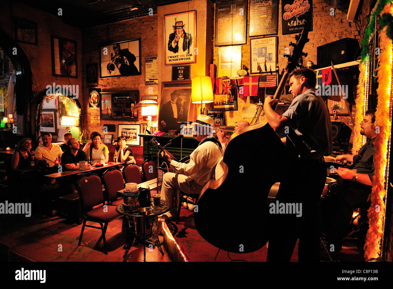 Barry Foulons, Live Music, band, playing, fritzel's, Bourbon Street, French Quarter, New Orleans, Louisiana, - Stock Image