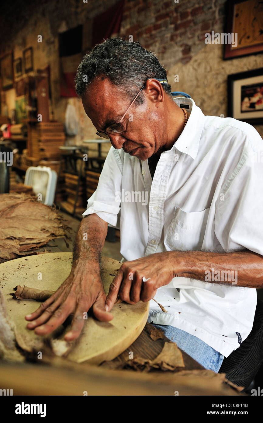 Man, rolling, cigar, leaves, Cigar Factory, New Orleans, French