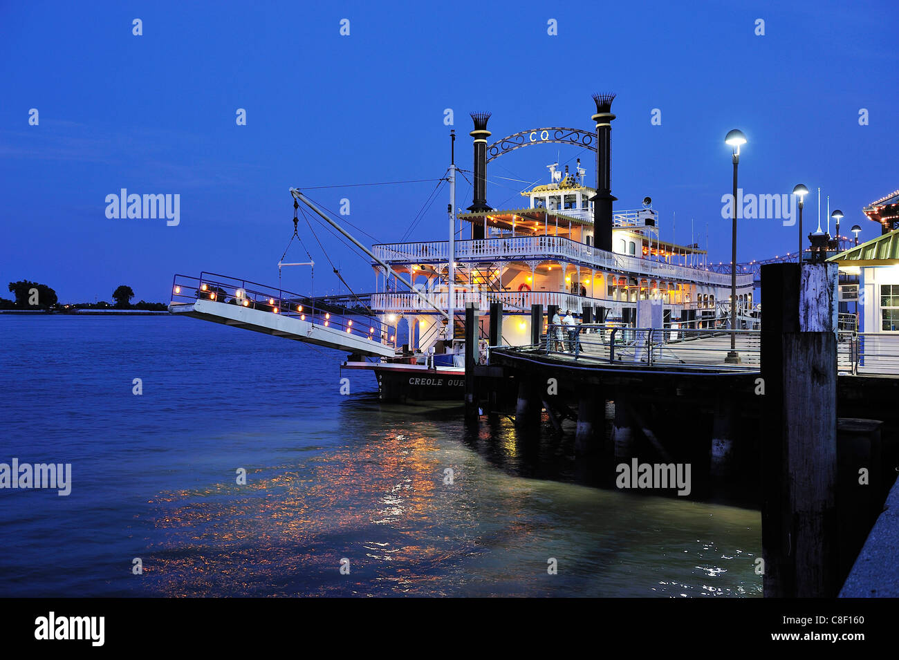 Creole Queen, Riverwalk, Mississippi, River, French Quarter, New Orleans, Louisiana, USA, United States, America, - Stock Image