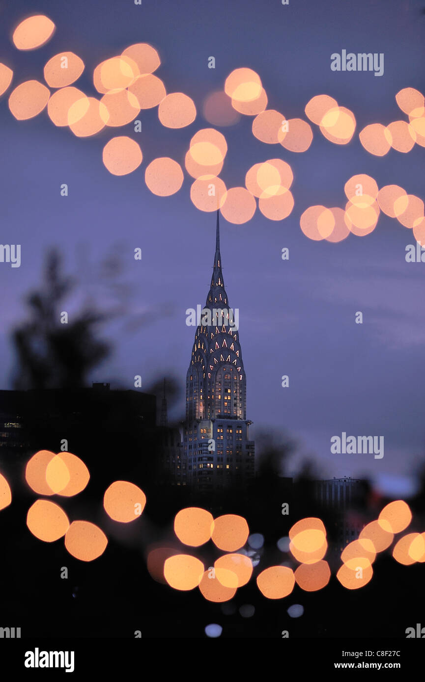 Chrysler Building, Manhattan, New York, USA, United States, America, Christmas, lights - Stock Image