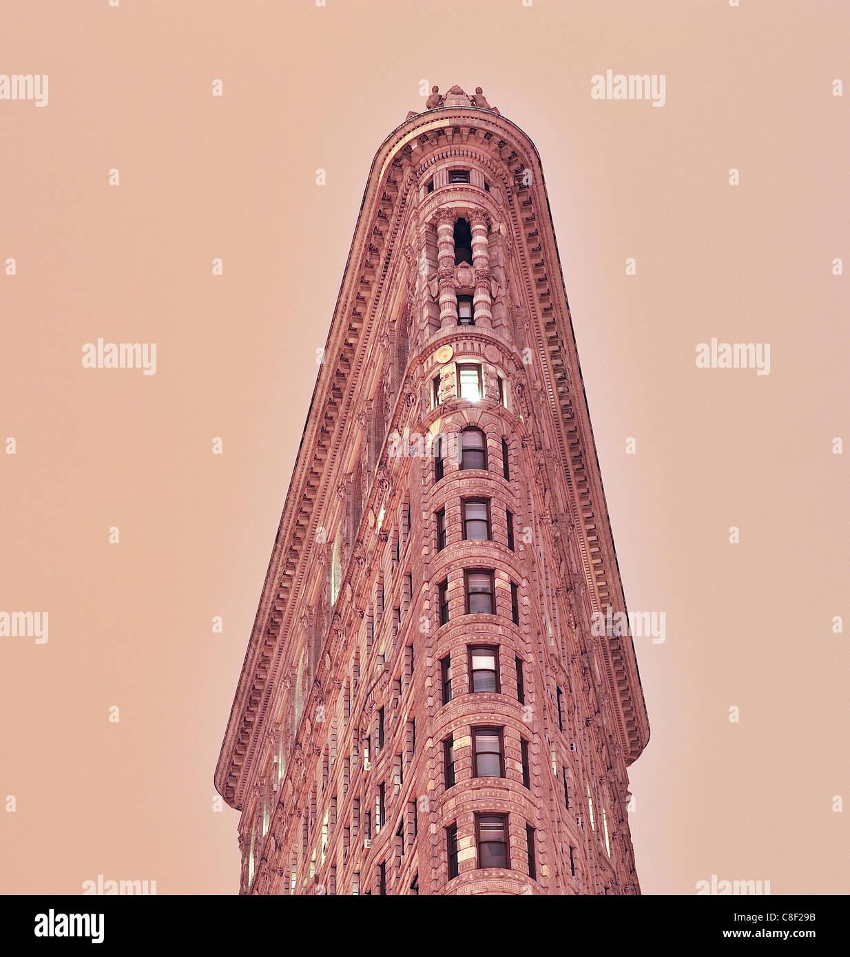 Flatiron, Building, Manhattan, New York, USA, United States, America, evening - Stock Image