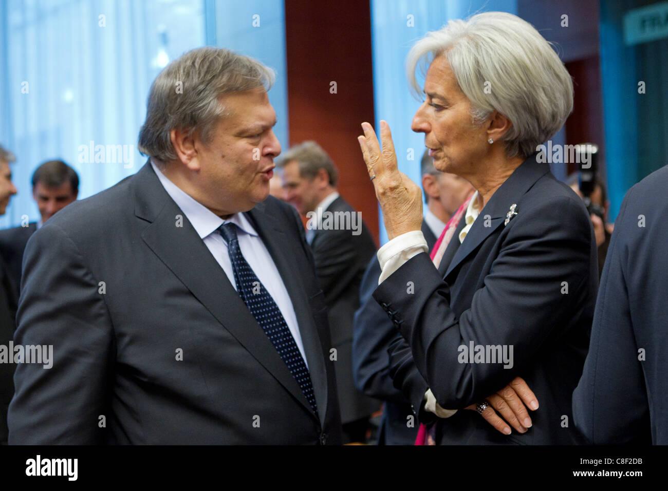 . Greek Finance Minister, Evangelos Venizelos (left) and Christine Lagarde, Director General of the International - Stock Image