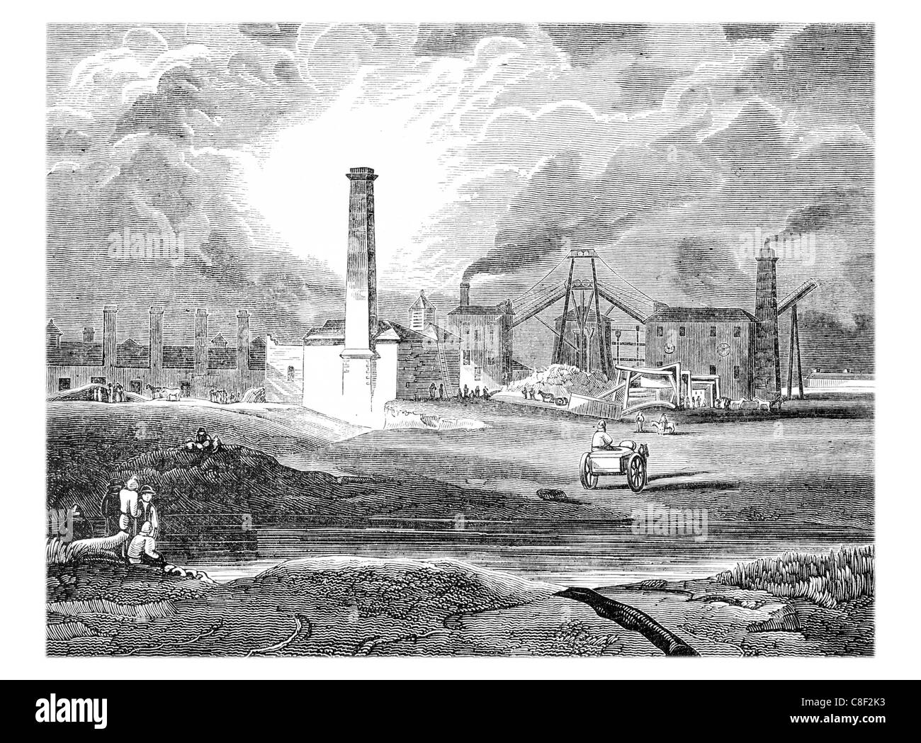 South Hetton colliery Durham coal mining mine trade industry industrial revolution colliery miners miner mines transport - Stock Image
