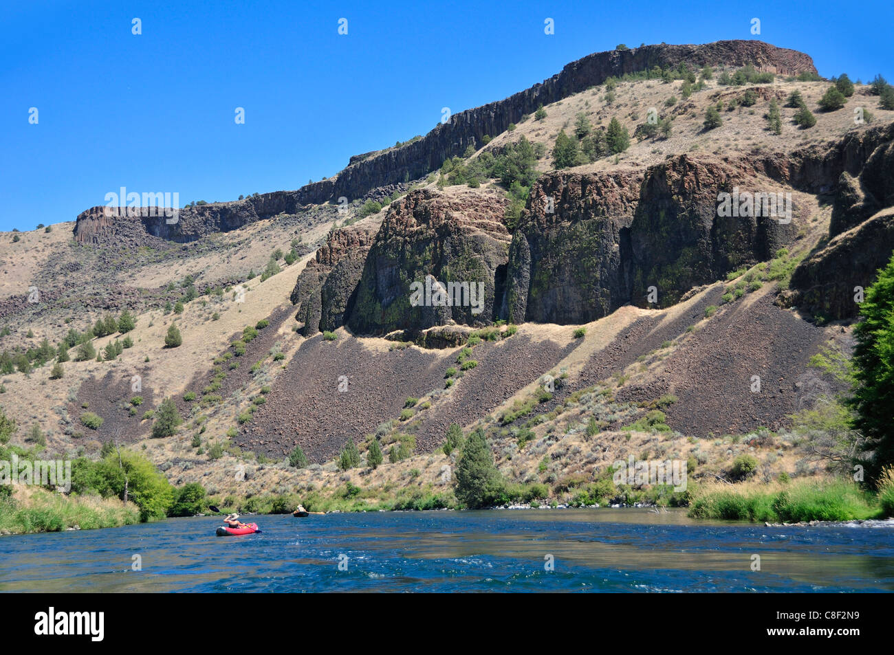 Inflatable, Kayaks, rafting, Deschutes, River, Central Oregon, Oregon, USA, United States, America, - Stock Image