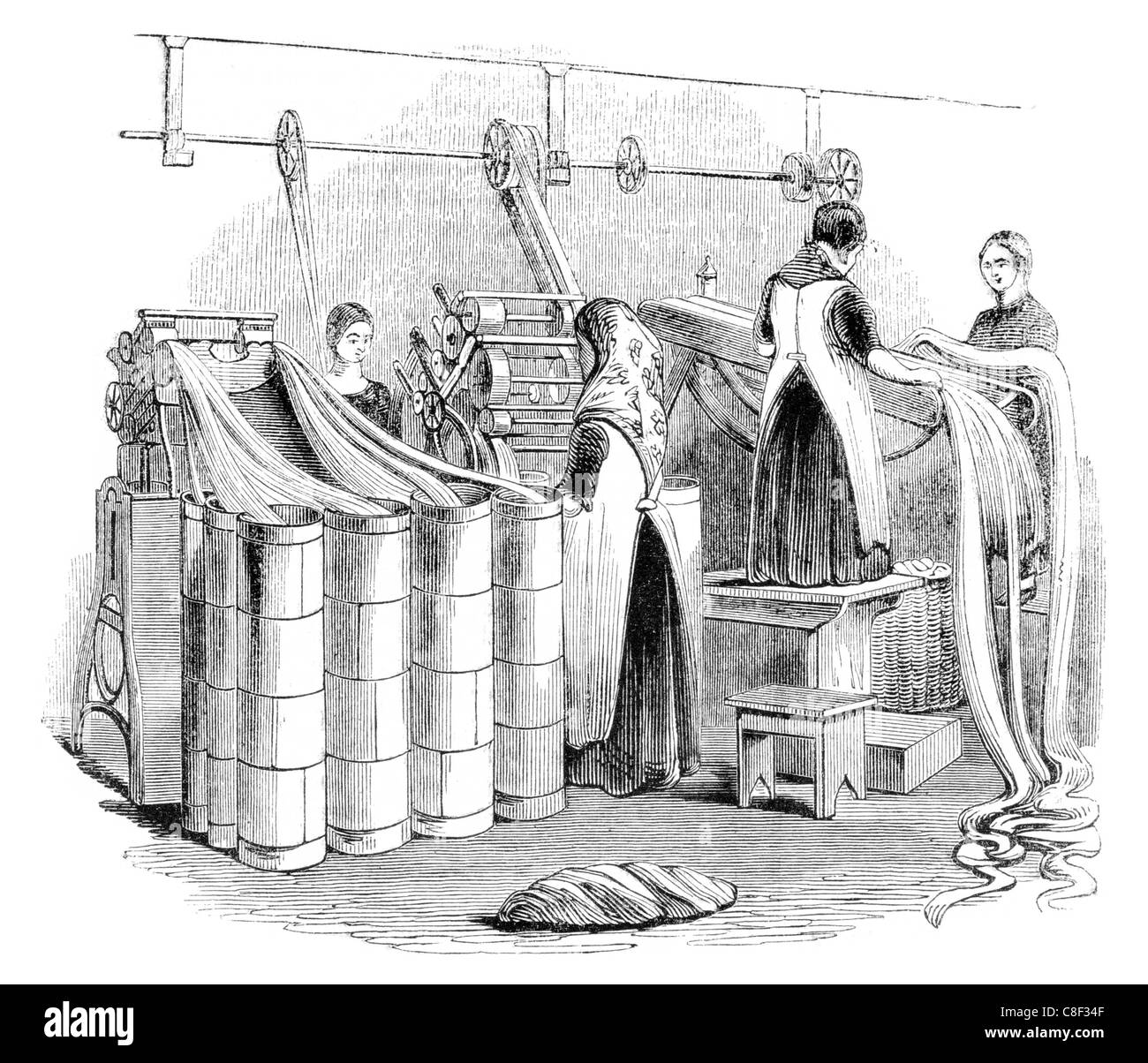 drawing Worsted  slivers mill Leeds mills spinning spin woollen yarn linen weaving weave roving carding - Stock Image