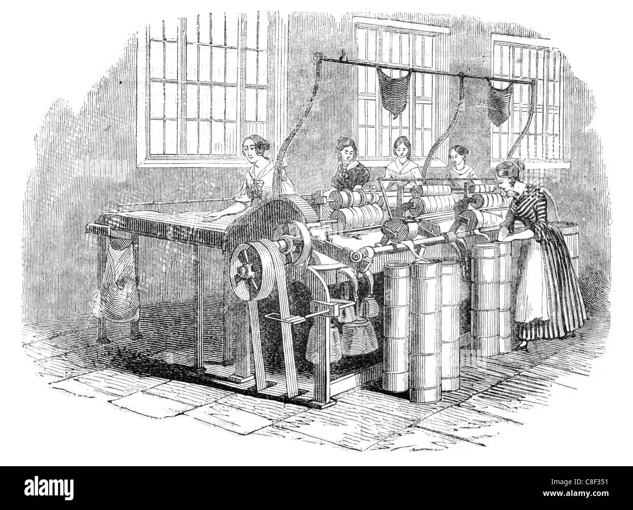 flax drawing mill Leeds mills spinning yarn linen weaving weave - Stock Image