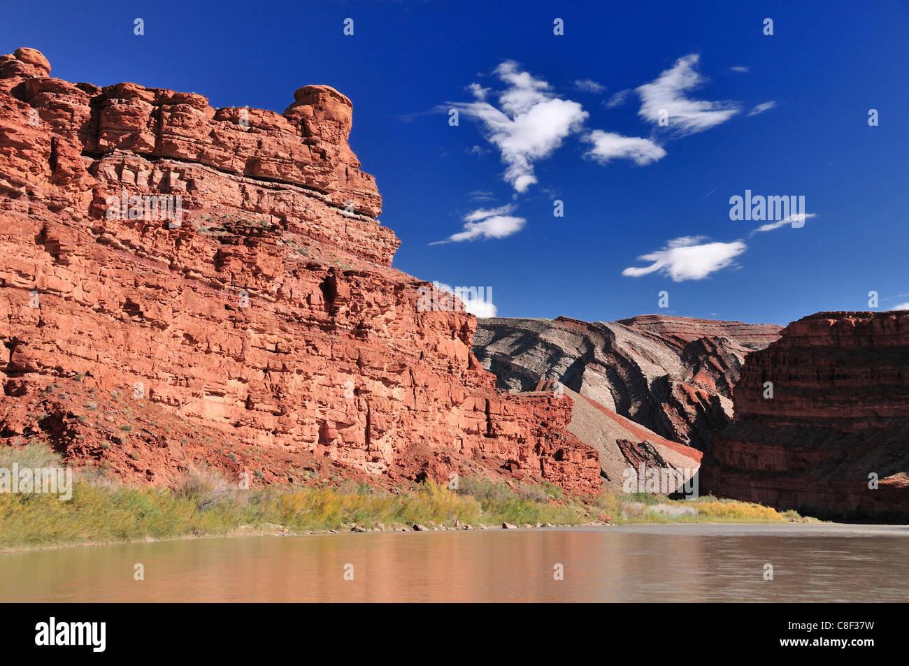 Cliffs, San Juan River, near Bluff, Colorado Plateau, Utah, USA, United States, America, - Stock Image