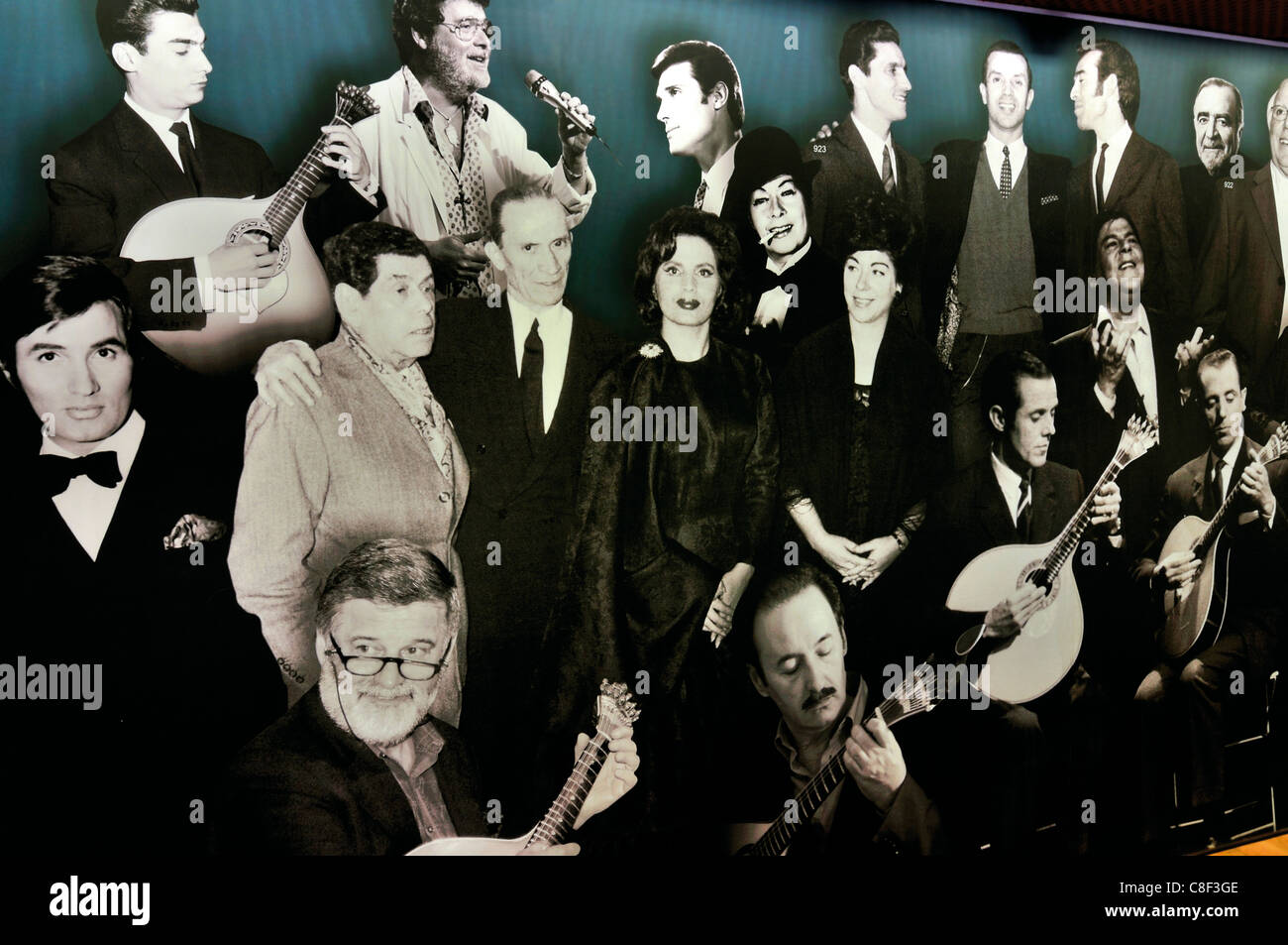 Portugal, Lisbon: Photographic wall collage  with famous Fado artists in the Museu do Fado - Stock Image