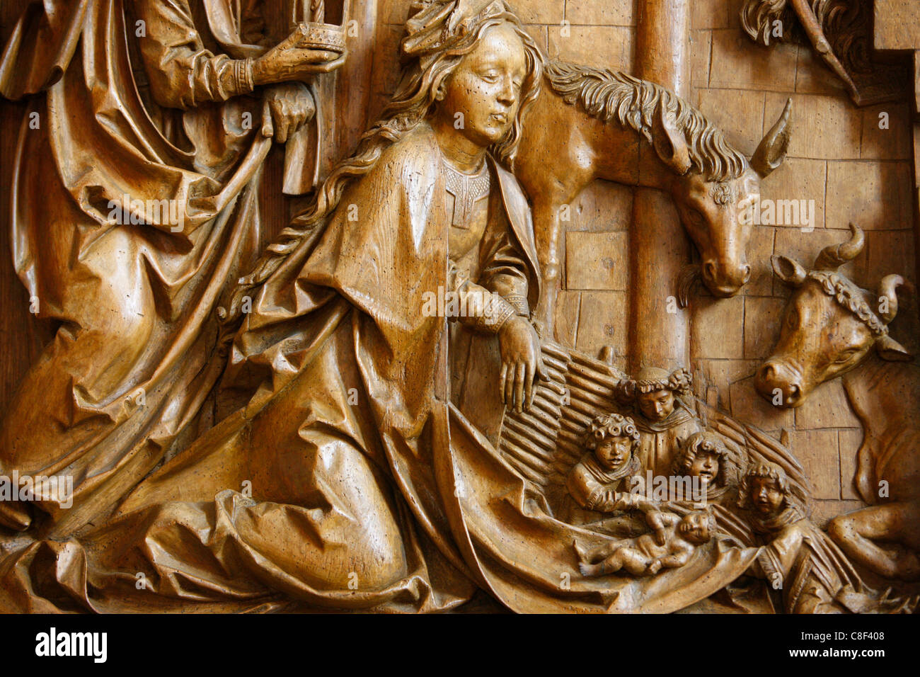 Detail of the Nativity on the carved altar, dating from 1509, Mauer bei Melk church, Lower Austria, Austria - Stock Image