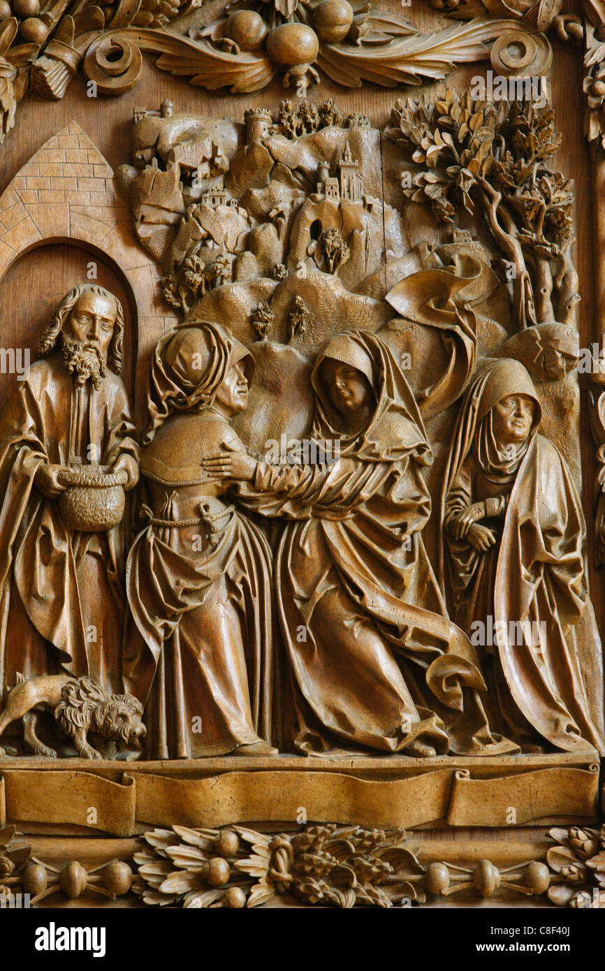 Visitation of the Blessed Virgin Mary on the carved altar, dating from 1509, Mauer bei Melk church, Lower Austria, - Stock Image