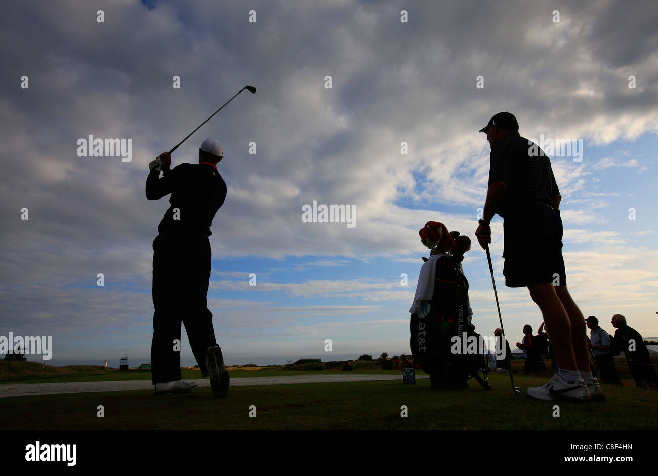 Tiger Woods tees off with caddy Steven Williams during the Open - Stock Image