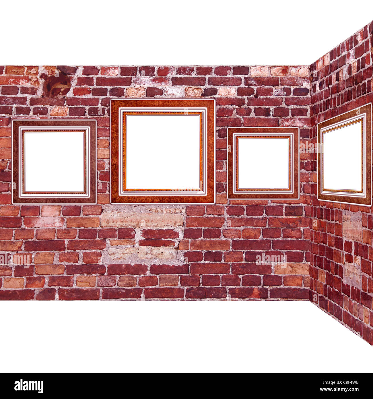 Art gallery. Frames old leather on a brickwall. - Stock Image