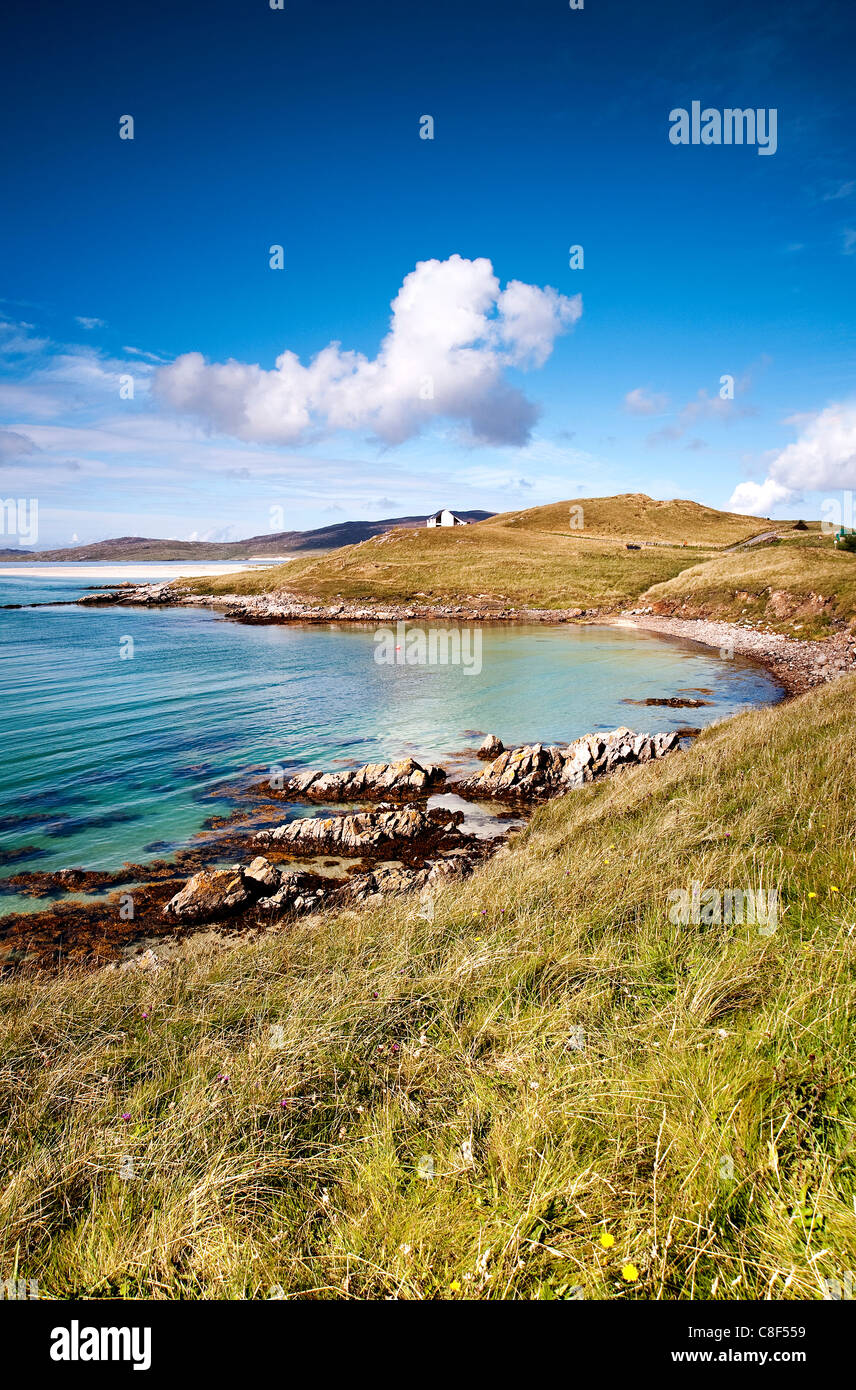 A view of a bay on Luskentyre beach on the Isle of Harris - Stock Image