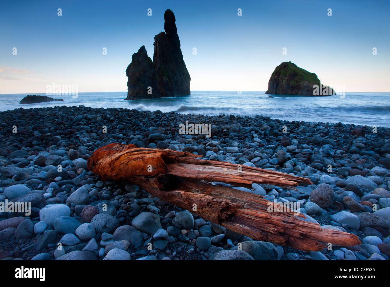 Ribeira there Janela, Portugal, Europe, Madeira, coast, sea, Atlantic, rock, cliff, pillar, erosion, waves, gravel - Stock Image