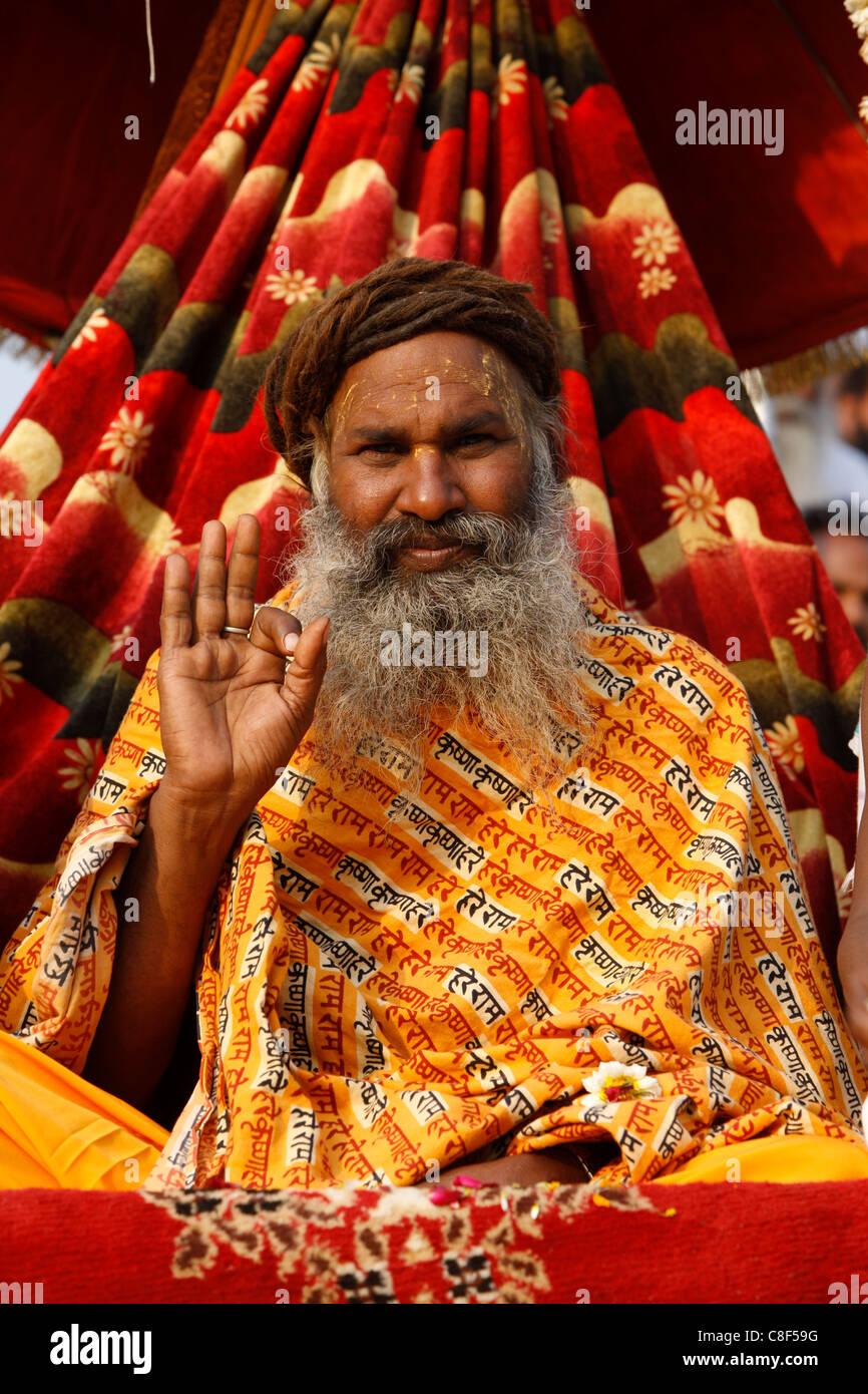 Sadhu procession during Haridwar Kumbh Mela, Haridwar, Uttarakhand, India - Stock Image