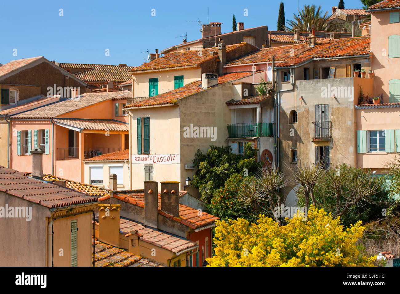 Bormes-les-Mimosas, France, Europe, Côte d'Azur, Provence, Var, town, city, houses, homes, Old Town, spring - Stock Image
