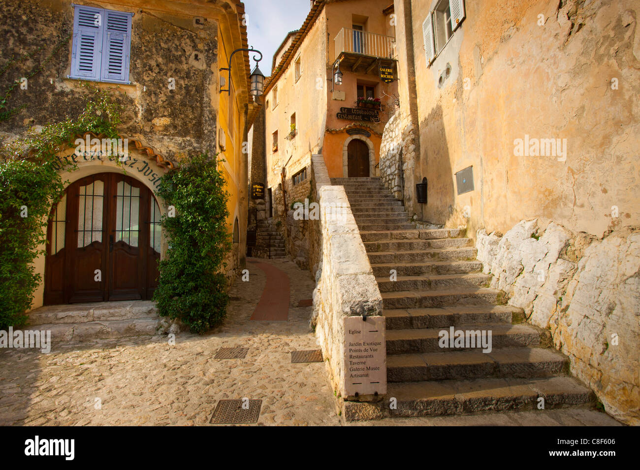 Eze, France, Europe, Côte d'Azur, Provence, Alpes-Maritimes, village, houses, homes, lane, stair - Stock Image