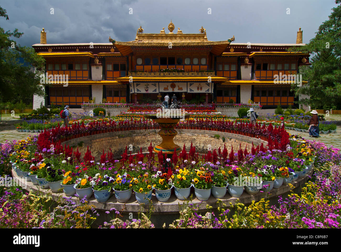 Colourful flowers at the Summer Palace, Lhasa, Tibet, China - Stock Image