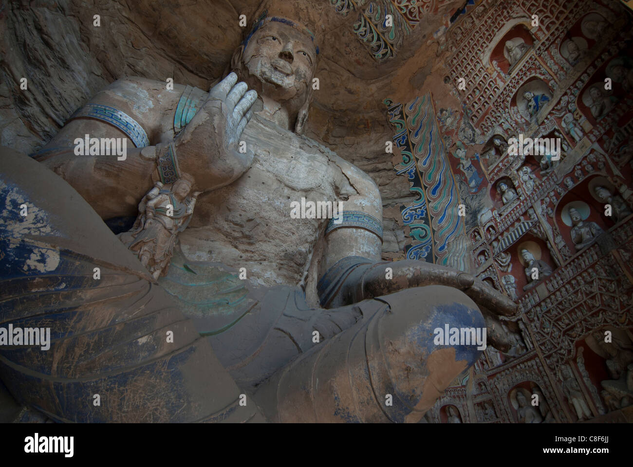 Giant Buddhas at the Yungang Grottoes, ancient Buddhist temple grottoes near Datong, UNESCO World Heritage Site, - Stock Image