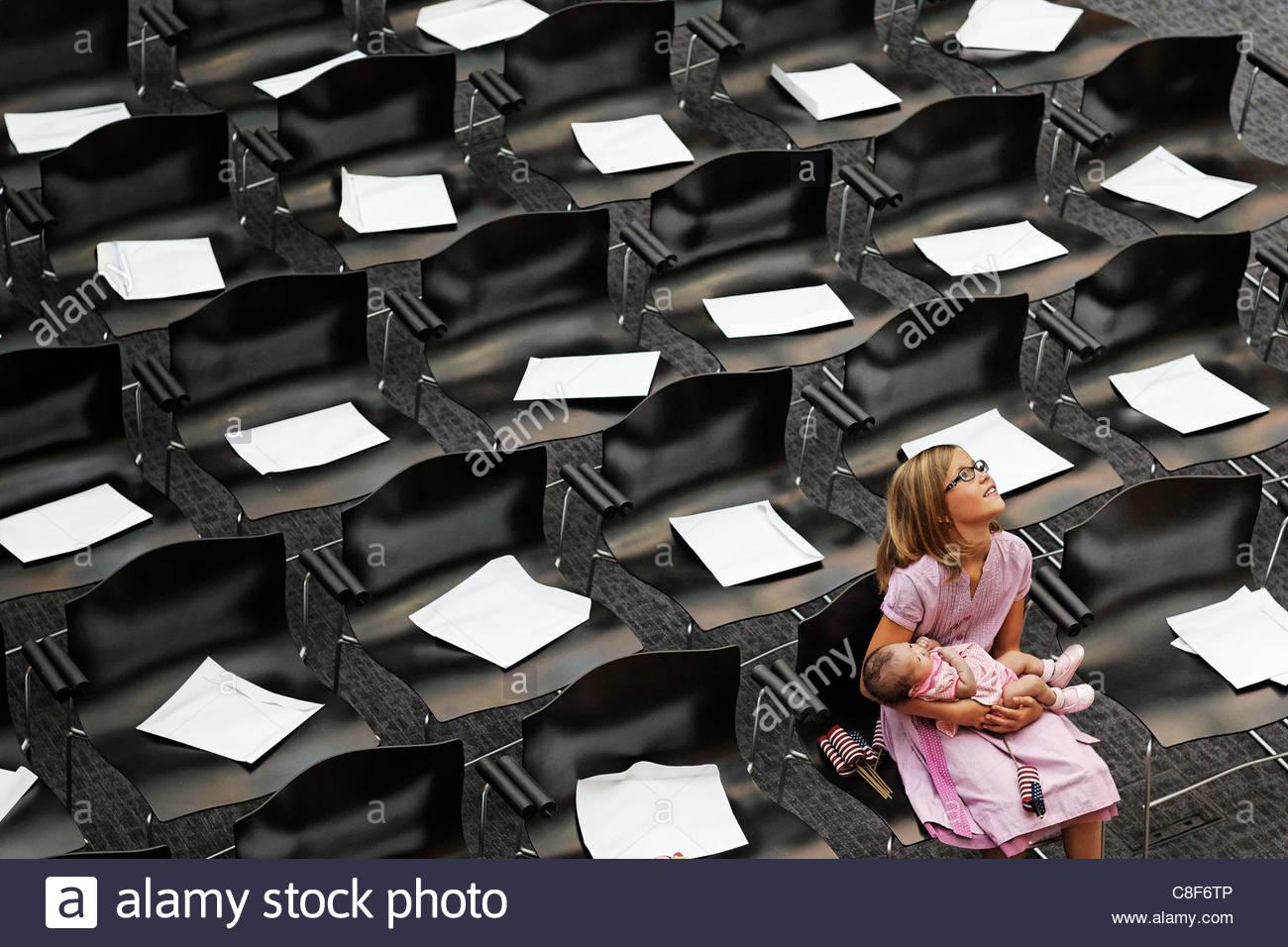 Australian children await a naturalization ceremony in Phoenix. - Stock Image