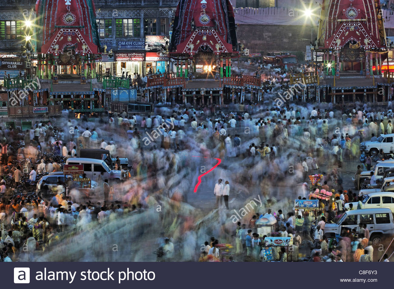 A Ratha Yatra religious festival in temple town of Puri. Stock Photo