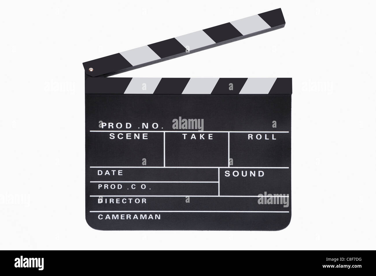 Detail photo of a movie clapper - Stock Image