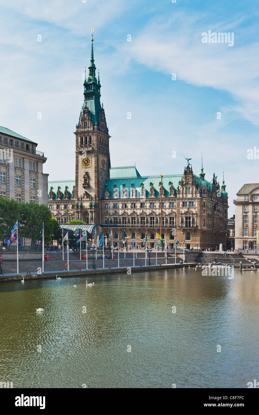 Hamburg City Hall built in the style of historicism from 1884-1897, Hamburg, Germany, Europe - Stock Image