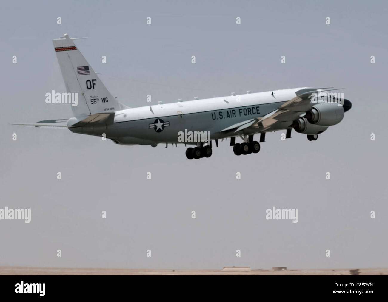 An RC-135 Rivet Joint from 379th Air Expeditionary Wing takes off for a mission March 20 in Southwest Asia. Stock Photo