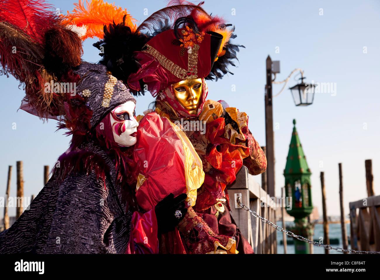 Costumes and masks during Venice Carnival, Venice, Veneto, Italy Stock Photo