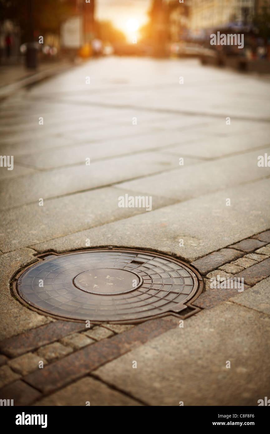 Manhole cover - Stock Image