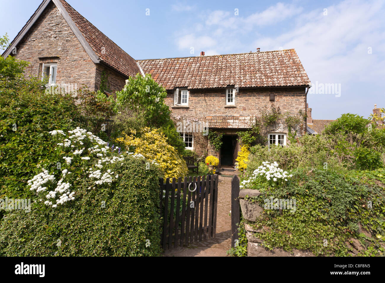 A typical Exmoor cottage in the village of Horner, Somerset - Stock Image