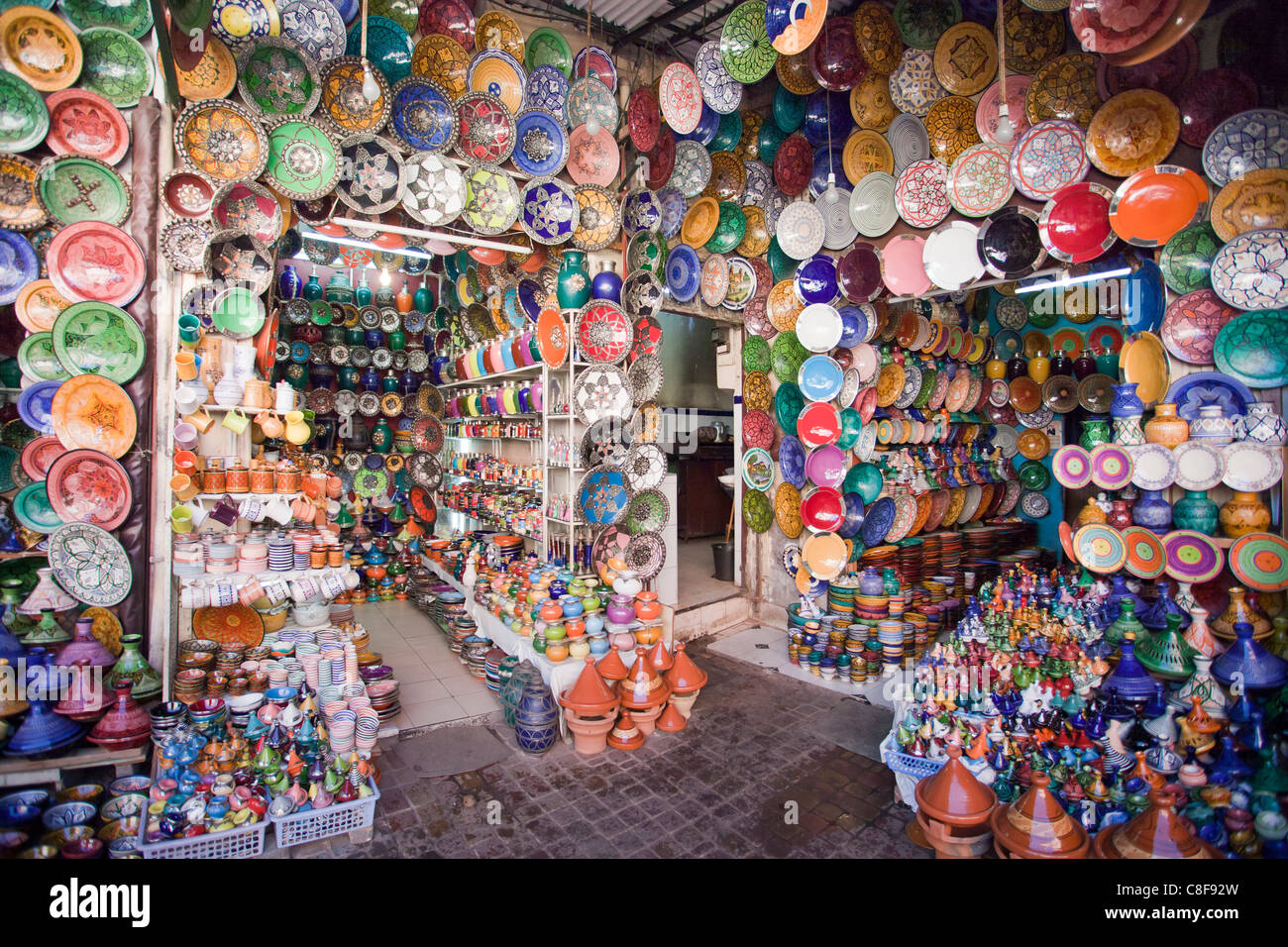 Morocco, North Africa, Africa, Marrakech, Medina, business, trade, shop, lamps - Stock Image