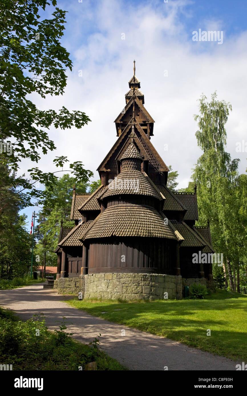 Gol 13th century Stavkirke (Wooden Stave Church, Norsk Folkemuseum (Folk Museum, Bygdoy, Oslo, Norway, Scandinavia - Stock Image