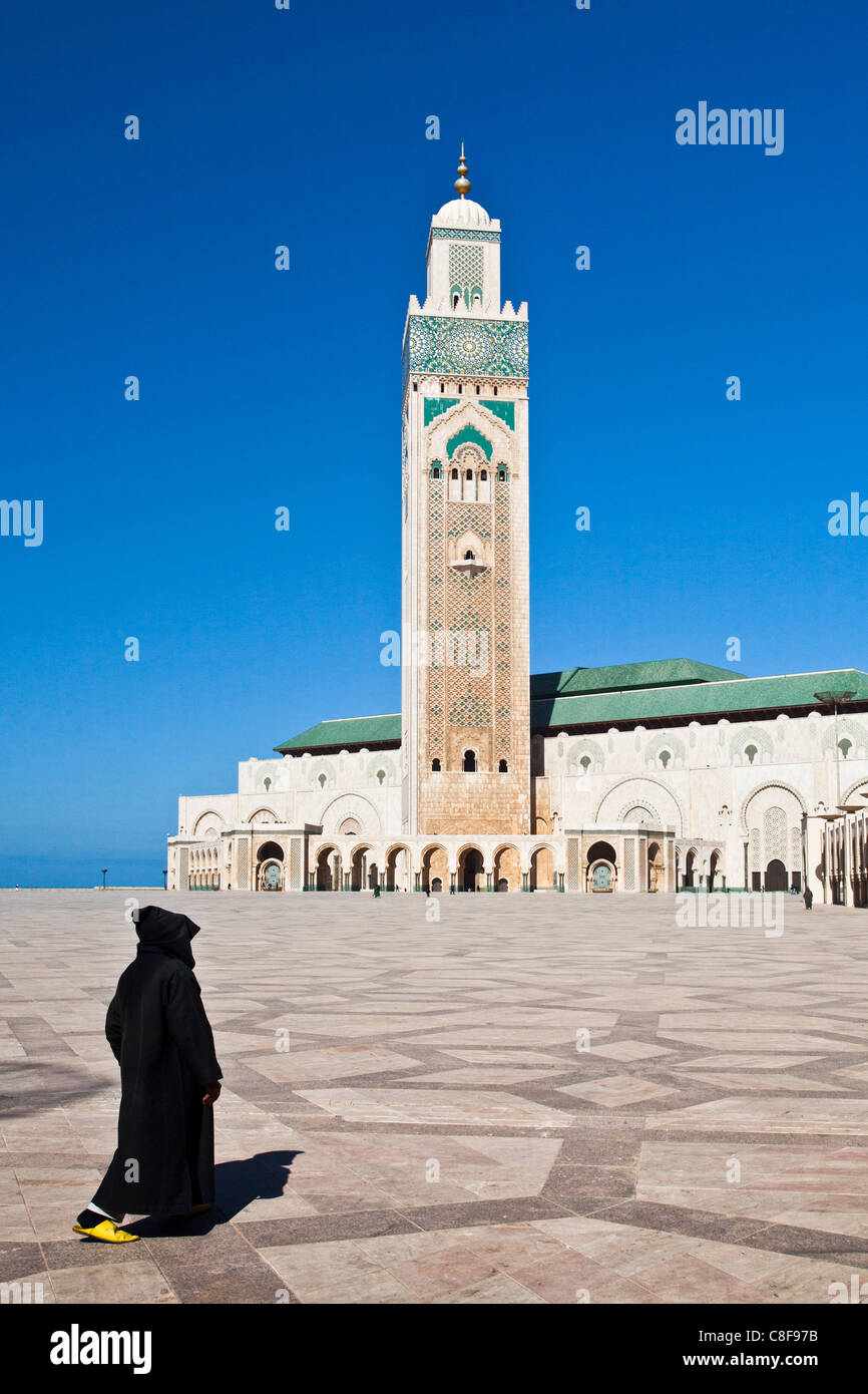 Morocco, North Africa, Africa, Casablanca, Hassan II, mosque, highest, top, minaret, 210 ms, person, coat - Stock Image