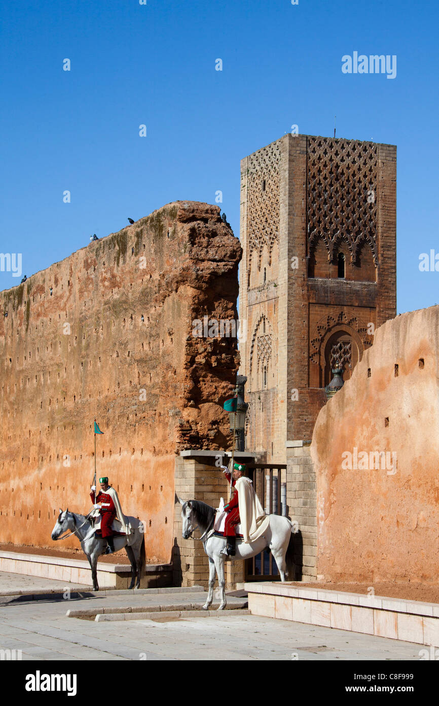 Morocco, North Africa, Africa, Rabat, guard, guard, horses, Hassan II, tower, rook, - Stock Image