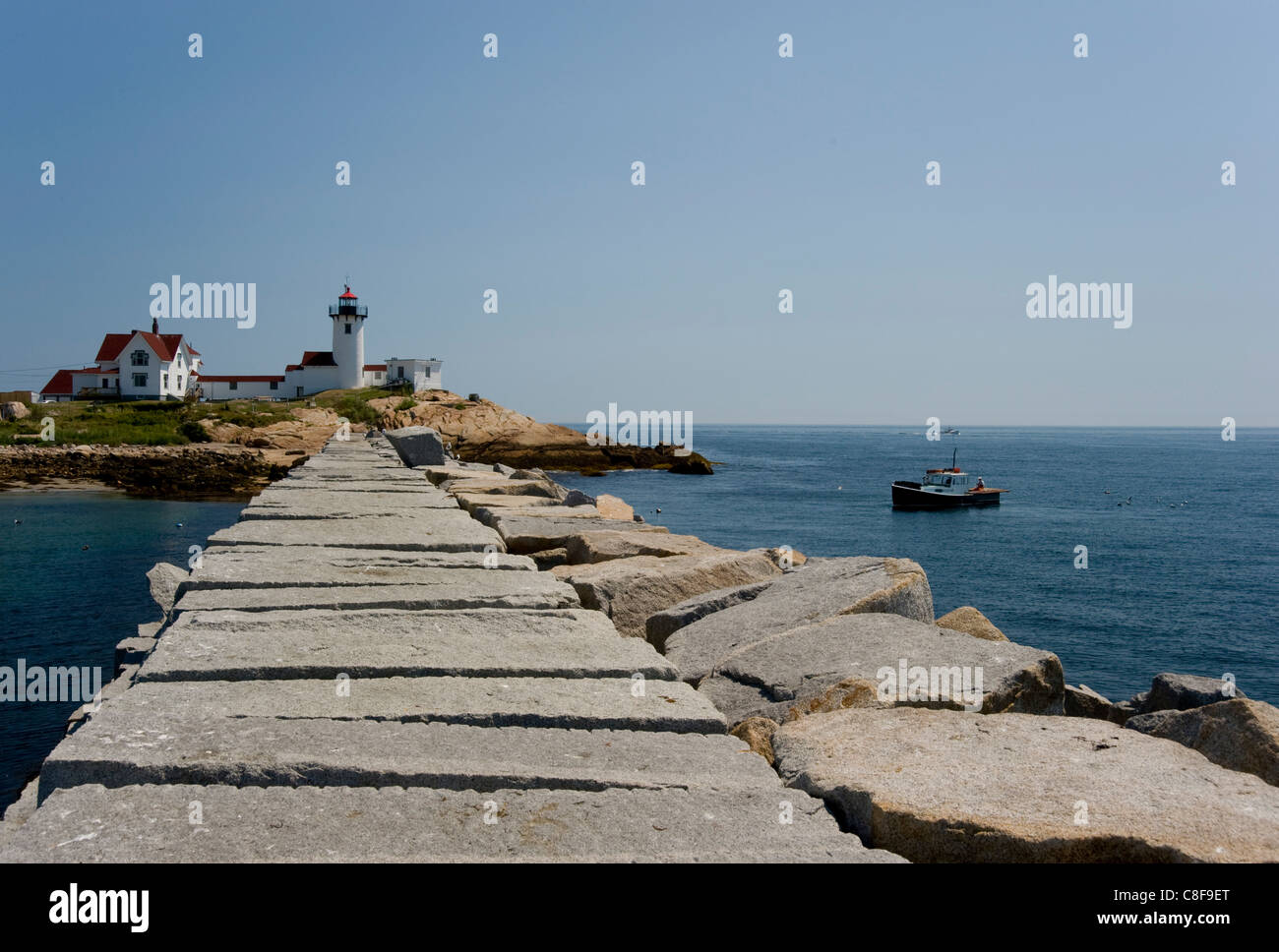 The Eastern Point lighthouse, Gloucester, Massachussetts, New England, United States of America - Stock Image