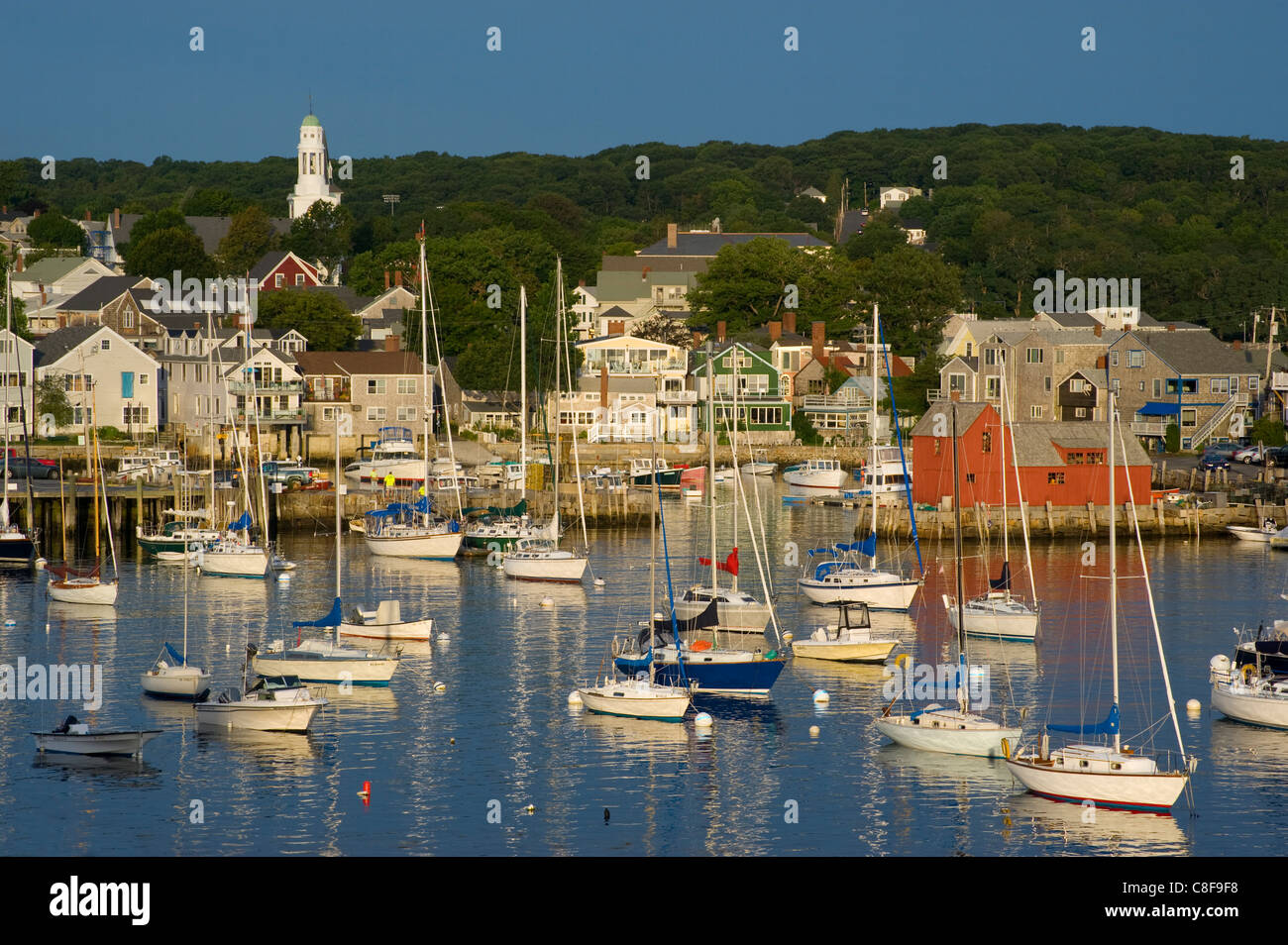 An early morning view of Rockport harbour, Rockport, Massachussetts, New England, United States of America - Stock Image