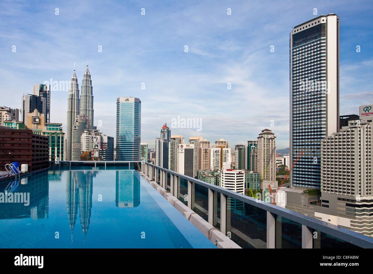 Malaysia, Asia, Kuala Lumpur, Golden Triangle District, Petronas Towers, blocks of flats, high-rise buildings, Skyline, - Stock Image