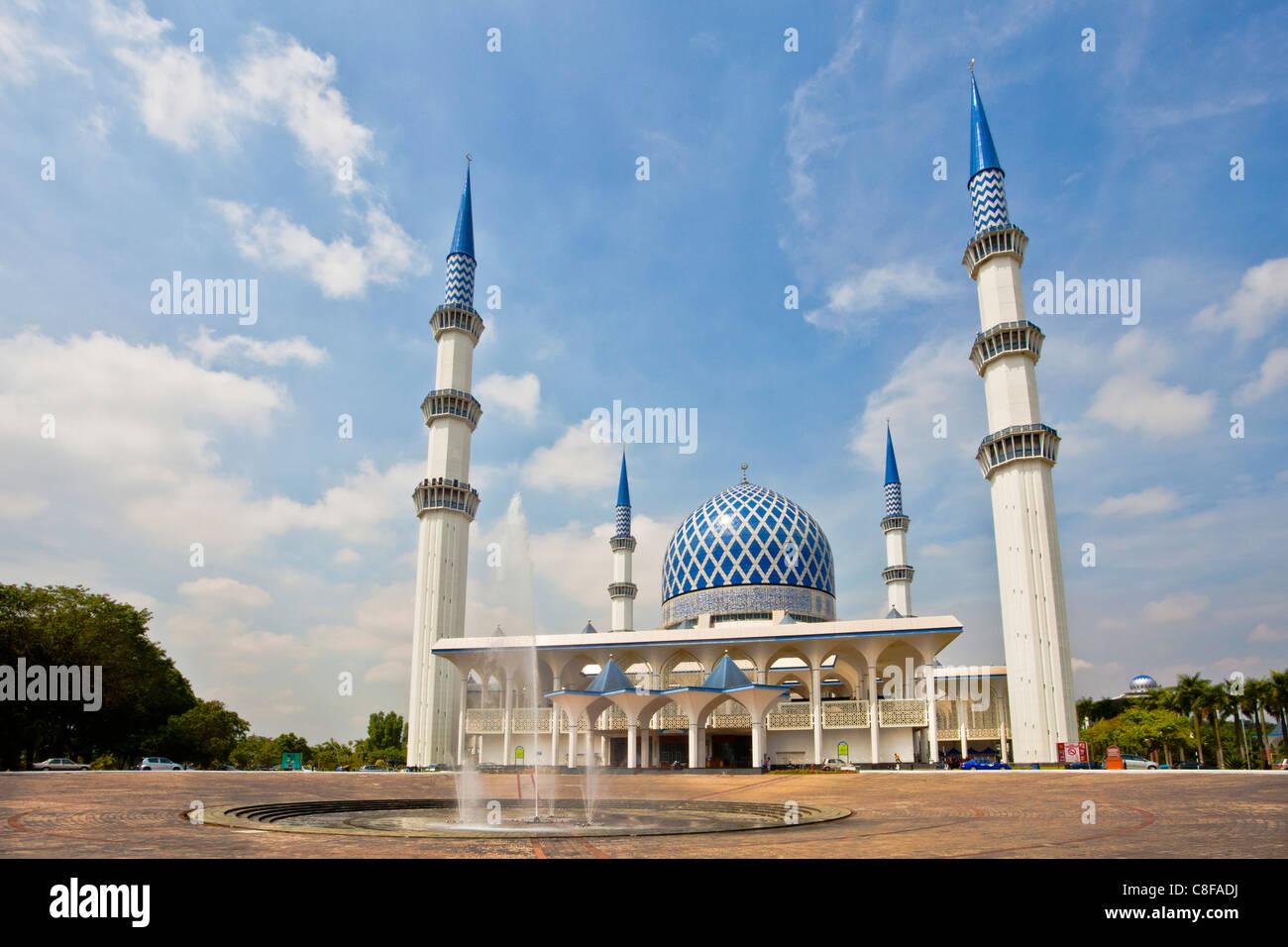 Malaysia, Asia, Selangor, Sha Alam, city, national mosque, mosque, The Blue Mosque, sultan Abdul Aziz Mosque, blue - Stock Image
