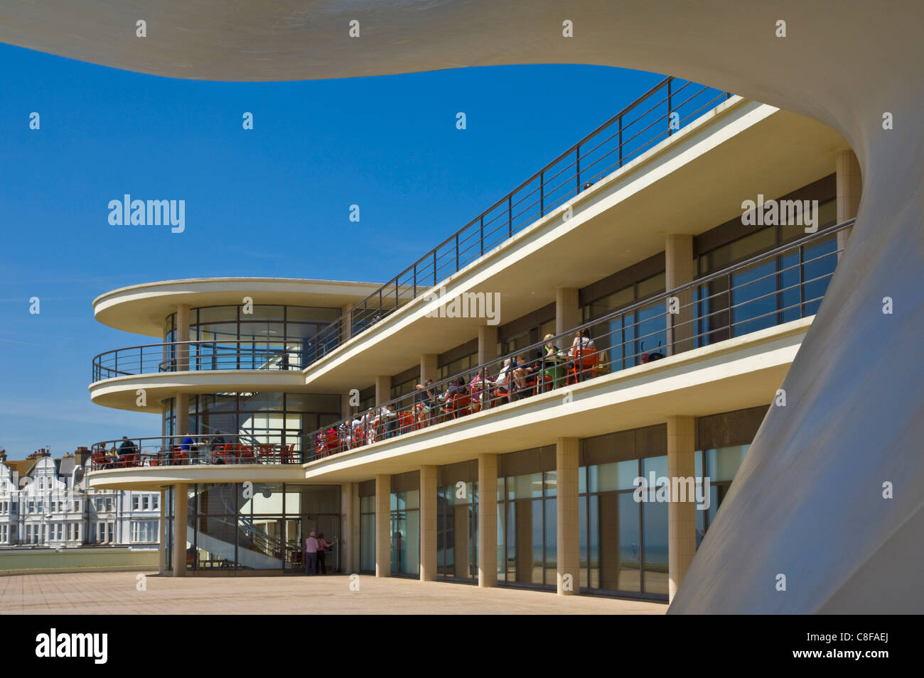 Outdoor stage for performances and exterior of the De La Warr Pavilion, Bexhill on Sea, East Sussex, England, United - Stock Image