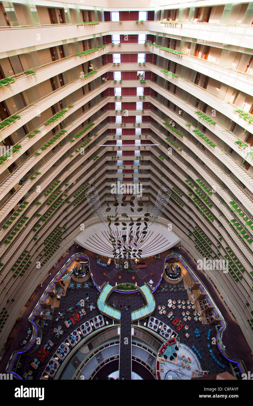 Singapore, Asia, Pan Pacific hotel, lobby, hall, Halle, look, glance, from above, floors, floors, inside, perspective - Stock Image