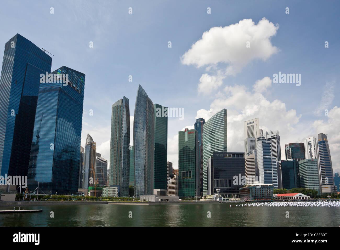 Singapore, Asia, Marina Bay, Skyline, bay, blocks of flats, high-rise buildings, skyscrapers - Stock Image