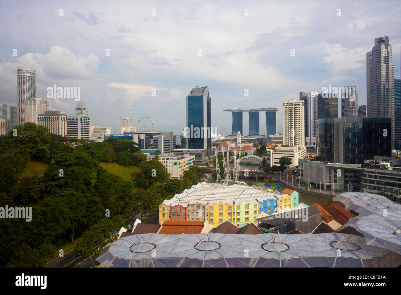 Singapore, Asia, Clarke Quay, bright, Skyline, skyscraper, blocks of flats, high-rise buildings, Downtown - Stock Image