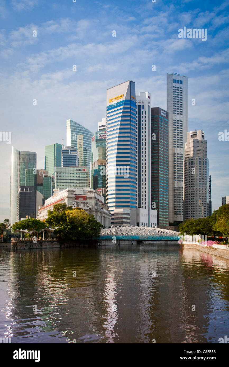 Singapore, Asia, Downtown, Skyline, blocks of flats, high-rise buildings, skyscrapers, shores - Stock Image