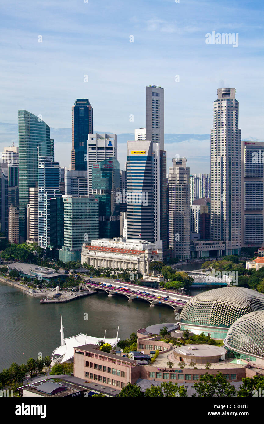 Singapore, Asia, Downtown, Skyline, Fullerton hotel, hotel, Esplanade building, construction, town, city, - Stock Image