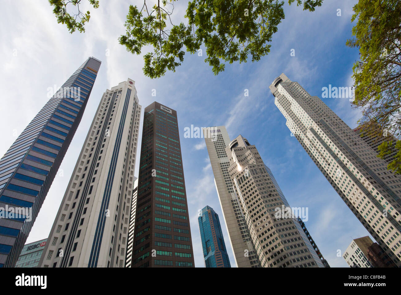 Singapore, town, city, blocks of flats, high-rise buildings, skyscrapers, Downtown, Skyline, houses, homes, look, - Stock Image