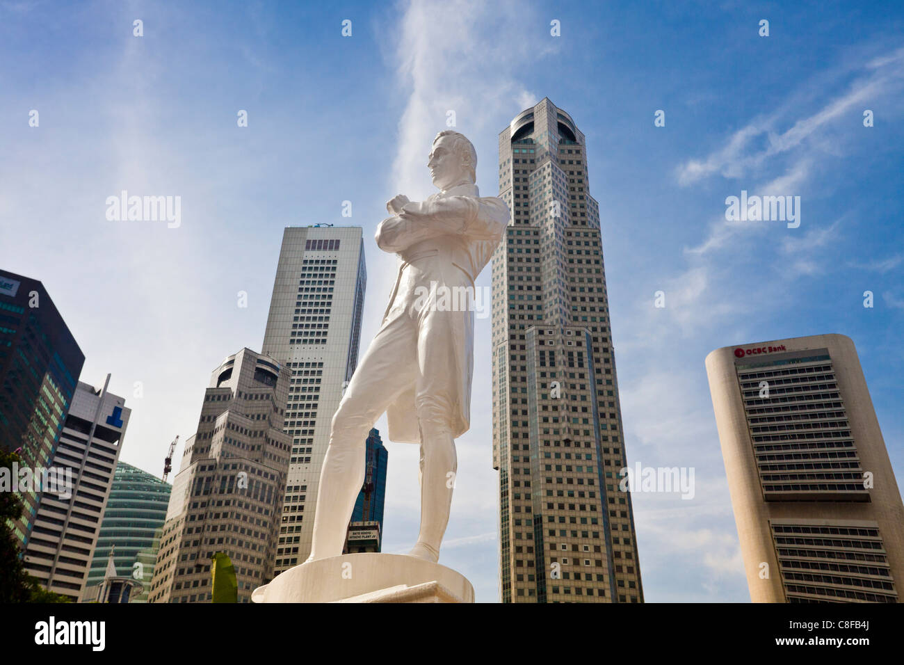 Singapore, Asia, Raffles monument, monument, Raffles, blocks of flats, high-rise buildings, skyscrapers, Downtown, - Stock Image