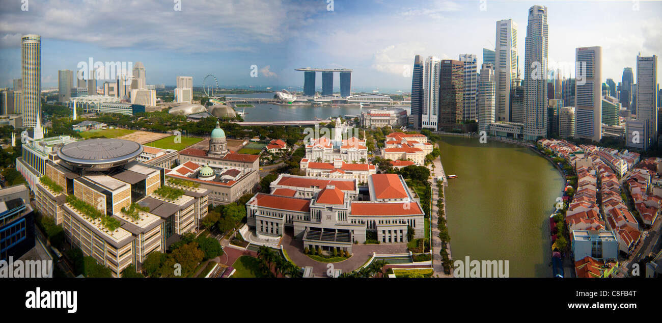 Singapore, Asia, parliament building, upper court of law, Marina Bay, bay, Downtown, Skyline, blocks of flats, high - Stock Image